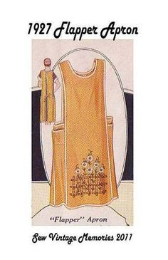 New Hand Drafted Pellon® Pattern Vintage Style Flapper Cover All Apron Apron Pattern Free, Vintage Apron Pattern, Aprons Vintage, Vintage Sewing Patterns, Clothing Patterns, Retro Apron Patterns, Sewing Aprons, Sewing Clothes, Sewing Crafts