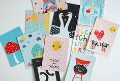 Large set of 14 different postcards