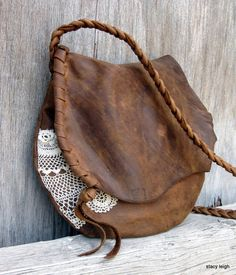 Rustic Leather and Lace Small Bag in Distressed by stacyleigh