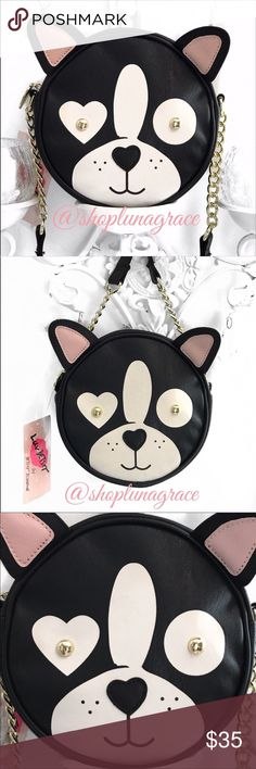 """Betsey Frenchie X-Body Bag Betsey Johnson French Bulldog cross-body bag with gold chain & black strap. Inside has no pockets but will hold a small wallet, Iphone 7+, etc. Cross-body strap is approximately 50"""". Betsey Johnson Bags"""