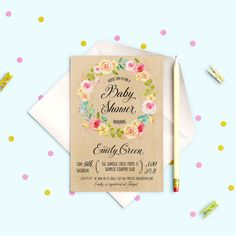 Baby Shower Invitation Shabby chic Baby Shower by AlniPrints #baby #shower #invitation #invite #rustic #modern #DIY #gifts #digital #printable #Buho #floral #download #Shabby