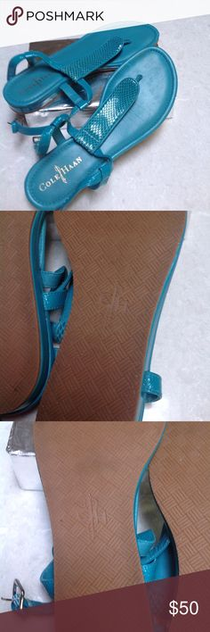 """COLE HAAN turquoise blue flat sandals. Size 7.5 Pretty turquoise blue flats. I wore them for about 10 minutes. (My toes are really short) I paid $90.00 for them on sale.  Size 7.5  From the thong it 1.5"""" Cole Haan Shoes Sandals"""