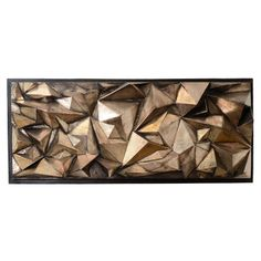 Mid Century Brutalist Wall Sculpture in Cast Fiberglass  USA  c. 1970s  A vintage cast fiberglass Brutalist abstract wall sculpture composed of triangular protrusions with a gold tone finish.