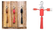 Pretty key chain with integrated charging cable for iPhone.
