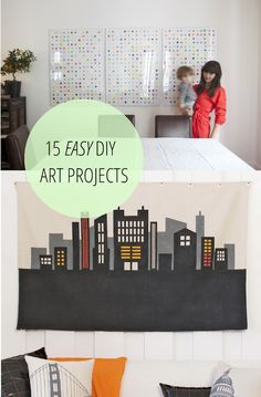 15 awesome and easy DIY art projects to try out!  Wooden block art and large wood shim art.