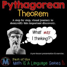 With over 50 carefully crafted slides that build from the most basic prior knowledge, this presentation, and student exercise, is a great PREQUEL to YOUR LESSON on the Pythagorean Theorem. This was originally posted on Room 213 and has since been updated and moved to Mathew's House.