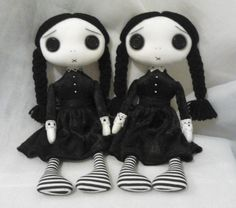 Reserved for Stephee  Custom order Wednesday Twins  They are made from 100% white cotton & stuffed with fibre fill. Black Button Eyes with shading. Handstitched Eyebrows & Mouth. There hair is Black acrylic wool. The Wednesday twins are wearing black crushed velvet dresses with cotton lace trim. Black & white stripe legs & lace knickers Dress is NOT removable Wednesday is approx 12 1/2 tall (32cm)  They will need some support to help her sit up  The Wednesday Twins are Art Dolls and is NOT…