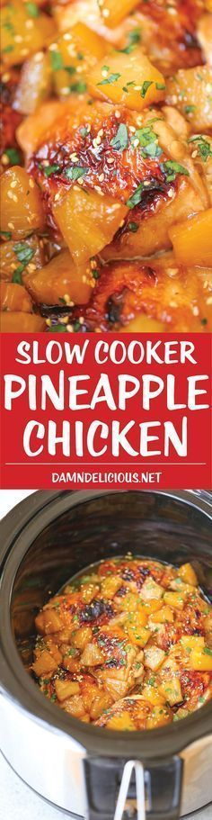Slow Cooker Pineapple Chicken - Sweet, tangy chicken made right in your crockpot! And the pineapples are so juicy and flavorful with all that slow cooking!