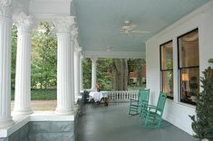 Paint Your Porch Ceiling, Haint Blue Porch Ceiling Painted Haint Blue - has haint blue paint colors Haint Blue Porch Ceiling, Ceiling Fan, Dark Ceiling, Palladian Blue, Porch Paint, Southern Porches, Country Porches, Low Country, Blue Paint Colors