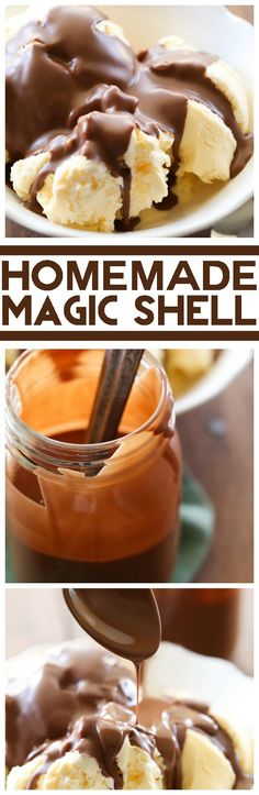 Homemade Magic Chocolate Shell: 2 simple ingreds for the best ice cream topping! Smooth chocolate that creates a perfect shell for a perfect bite. Frozen Desserts, Frozen Treats, Just Desserts, Delicious Desserts, Dessert Recipes, Yummy Food, Dessert Sauces, Ice Cream Treats, Ice Cream Toppings
