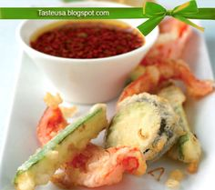 vegetable tempura with chile dipping sauce