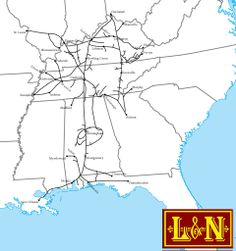 The Louisville and Nashville Railroad was a large and successful Southern line reaching St. Louis, Cincinnati, Chicago, and New Orleans. It formally disappeared with the creation of Seaboard System. Ride On Train, Train Map, Train Route, Train Tracks, Us Railroad Map, Railroad Photography, Art Photography, System Map, Train