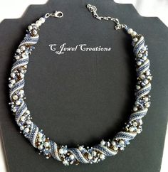 Twisted Pearl and Crystal Necklace Woven Seed by CJewelCreations, $100.00