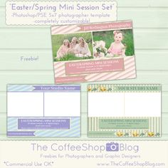 Today I have two brand new professional 5x7 Easter/Spring-inspired mini session templates. They are for Photoshop/PSE and can be complete...