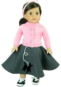 Amazon.com: Fits American Girl Dolls, 18 Inch Doll Clothes Poodle Skirt 3 Pc. Outfit of Scarf, Poodle Skirt & Doll Sweater: Toys & Games