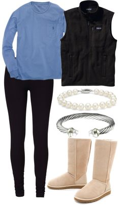 """""""Lazy Cold Mondays"""" by alexkay98 ❤ liked on Polyvore - long sleeve polo, fleece vest, leggings, and uggs"""