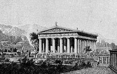 Zeustempel van Olympia. 465 voor Chr voltooid. Perfectie van de klassieke oudheid. Binnenin Zeus, een goud-ivoren beeld: één van de 7 wereldwonderen.