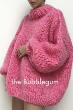 The oversized Bubblegum jumper is made by hand, using natures incredibly soft Mohair. Because Mohair is a natural resource and because the Knitter.'s jumpers are made by hand, there will be the odd imperfection, due to natures ways.But this isn't a bad thing. Generally speaking, nothing in life is