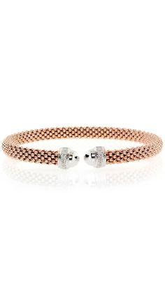 Rose Gold Italian Woven Diamond Bracelet :}