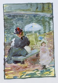 Maurice Prendergast - Large Boston Public Garden Sketchbook; A mother sitting at the edge of a pond with her baby and a young daughter