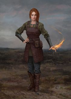 f Warlock Studded Leather Armor Casting farmland steppe prairie Young Celestra by Dmitry Tsarev : ReasonableFantasy Dungeons And Dragons Characters, D D Characters, Fantasy Characters, Fictional Characters, Fantasy Armor, Medieval Fantasy, Fantasy Concept Art, Sci Fi Fantasy, Fantasy Women