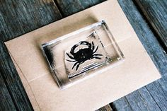 Crab Stamp - (Custom Size at 1 x 1.5 inches) Crab Rubber Stamp - Seafood Rubber Stamp - Ocean Rubber Stamp