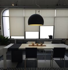 #Biluna suspension fixture, design by Luc Ramael for #Prandina, here in the refined matt black finish. #lighting #interiors #interiordesign #pendantlamp