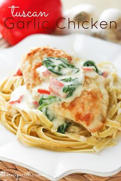 Tuscan Garlic Chicken, copycat recipe for the retired Tuscan Garlic Chicken at Olive Garden.