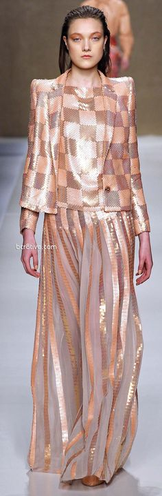 20's/30's/WWII: Blumarine 2013-14 Fall Winter, 30's square broad shoulder jacket with skirt