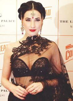 Burlesque queen Dita Von Teese, in India as the global brand ambassador for Cointreau, wore a black Shivan and Narresh lace saree at the Be Cointreauversial party on November Pin Up Vintage, Mode Vintage, Fashion Mode, Asian Fashion, Ute Lemper, Burlesque Vintage, Dita Von Teese Style, Dita Von Teese Wedding, Dita Von Teese Makeup