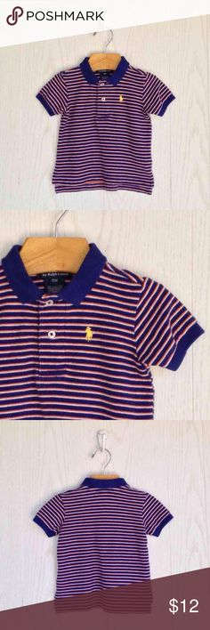 Ralph Lauren Striped Polo Short sleeve cotton pique polo. 2 button polo collar. Signature embroidered pony in yellow on upper left chest. Ralph Lauren Shirts & Tops Polos