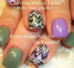 Dazzle Dry's Tranquil Gray and Week in Provence are featured in Robin Moses' Chevron Nail Art with Filigree (+playlist)