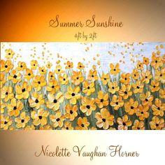 """Pintura de flores XL aceite amarillo """"Verano sol"""" Original moderno 48"""" espátula impasto pintura al óleo abstracta de Nicolette Vaughan Horner"""