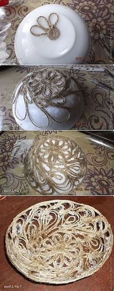 Make the best use of your creativity with these brilliant craft projects. Immediately try this Easy DIY Holiday Crafts! Twine Crafts, Yarn Crafts, Diy And Crafts, Arts And Crafts, Paper Crafts, Rope Art, Art N Craft, Diy Décoration, Sisal