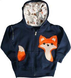 Kinder Sweatshirt Jacke mit Kapuze-Fuchs Motiv bestickt