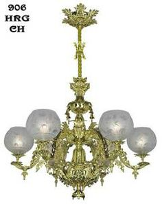 Antique Lighting Reproduction Victorian Chandelier - Neo Rococo Starr-Fellows Circa 1856 6 Light (906-HRG-CH)