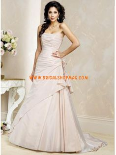 Online Discounted Modest Strapless A-line Romantic Pink Wedding Dresses