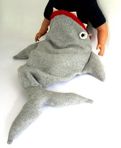 This makes me laugh so much... Baby Shark Sleeping Bag - Handmade Knitted Baby Costume, 3-12mths