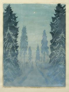 """✨ Erich Buchwald-Zinnwald - Waldlichtung im Nebel mit Mond, 1935,  Farbholzschnitt, in Blei signiert und datiert. In Blei bezeichnet """"Originalholzschnitt"""",  40 x 30,4 cm"""