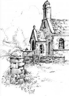 Pencil Art Pencil sketchbook drawing of church near Sedbergh - Landscape Pencil Drawings, Landscape Sketch, Pencil Art Drawings, Landscape Art, Realistic Drawings, Illustration Au Crayon, Illustration Sketches, Art Et Architecture, Pencil Drawing Tutorials