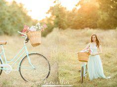 vintage bike, sunlight, backlit, unwashed, teal dress, flowers, field,  Fayetteville AR portraits, sunwashed