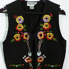"Western connection embroidered black vest medium Western connection embroidered black vest medium  Back up/down 18.5"" Under arm to under arm 21"" Waist side to side 20"" Western connection  Jackets & Coats Vests"