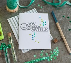 """You Make Me Smile Card  Thinking of you makes me smile. Just thought I should let you know.  This project makes one 5 ½"""" x 4 ¼"""" card. Images are from the Cricut® Phrases and Cricut® Card Set with Box digital cartridges.  ❤ Shanon  DIY, created with a Cricut Explore, creative cards"""