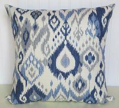 Light blue, Grey, White .Dark Blue, Decorative Pillow Cover--Duralee Contemporary Accent Throw Pillow