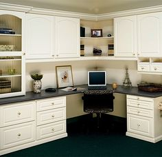 Infinity Office System with crystal brass knobs and laminate counter top. Ohhhhhh Yeahhhh! I could spend 8 in there! And an Eiffel Tower too!