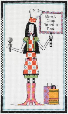 Dolly Mamas Born to Shop, Forced To Cook Cross Stitch Kit - Janlynn