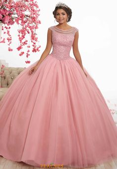 Magbridal Alluring Tulle Jewel Neckline Cap Sleeves Ball Gown Quinceanera Dress With Beadings Ball Gown Dresses, 15 Dresses, Dresses Online, Fashion Dresses, Formal Dresses, Wedding Dresses, Xv Dress, Dress Prom, Lace Wedding