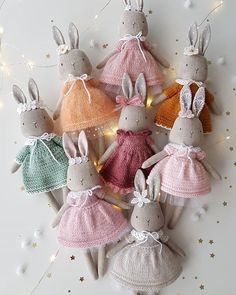UPDATE In mint dress bunny is sold. Thank you all so much for your overwhelming love for these little bunnies! There are only 2 Fabric Toys, Fabric Crafts, Softies, Maileg Bunny, Fabric Animals, Mint Dress, Sewing Dolls, Doll Tutorial, Soft Dolls