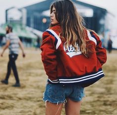 Summer Festival Babe With Ripped Denim Shorts And Red White And Blue Bomber Jacket