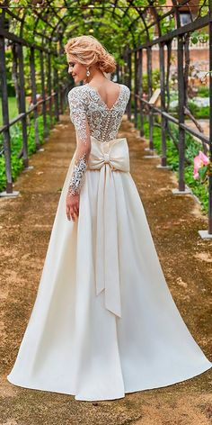 Oksana Mukha Wedding Dresses 2018 ❤ oksana mukha wedding dresses 2018 lace straight backless long sleeves with bow ❤ See more: http://www.weddingforward.com/oksana-mukha-wedding-dresses-2018/ #weddingforward #wedding #bride